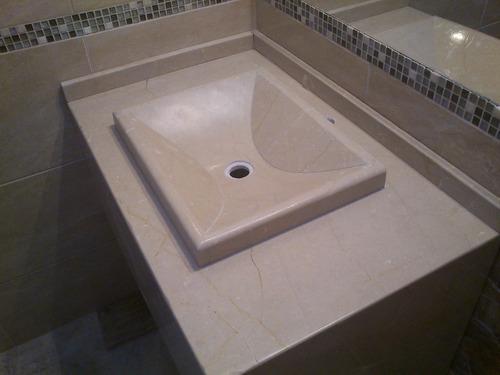 Bachas Para Baño Flotantes:Mesada De Marmol Para Baño Con Bacha Artesanal – $ 4500,00 en